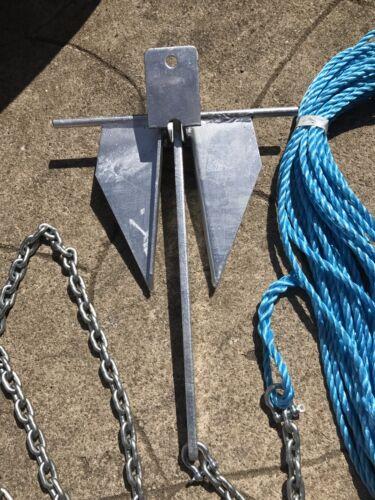 7kg Danforth style boat anchor Kit  5m  8mm chain 150ft 10mm rope bin