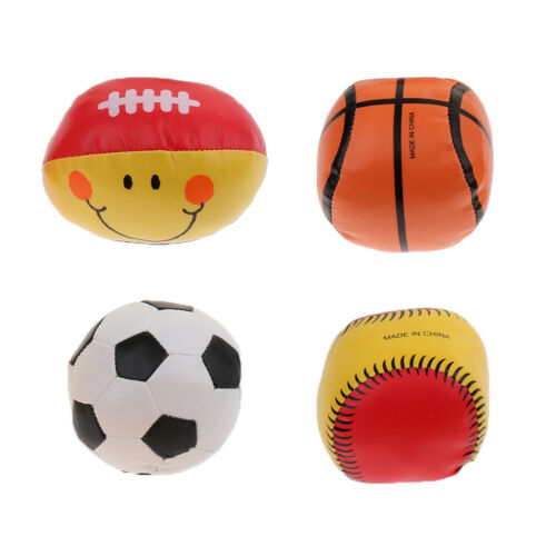 Assorted 4pcs PU Leather Hand Grasping Ball Juggling Balls Kid Squeezing Toy