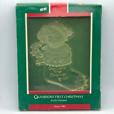 Hallmark Acrylic Ornament Grandson/'s First Christmas 1989 Puppy Dog in Stocking
