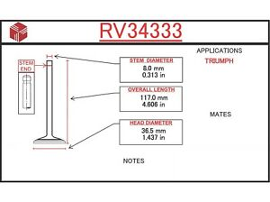 engine intake valve itm rv34333 fits 69 76 triumph tr6 2 5l l6 ebay