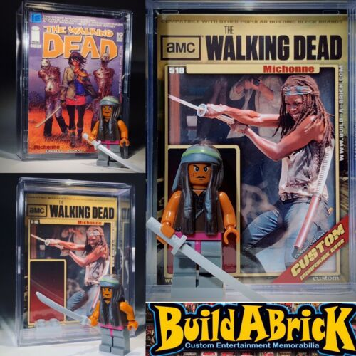Walking Dead Michonne custom MINI ACTION FIGURE w// Display Case Zombies 518 TWD