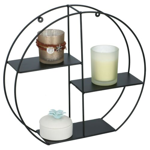 Black Wire Metal 3 Tier Round Oval Floating Wall Hanging Shelf Display Storage