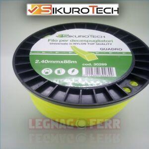 Filo-Decespugliatore-Quadro-2-4-mm-Universale-Nylon-88-Metri-Bobina-Sikurotech