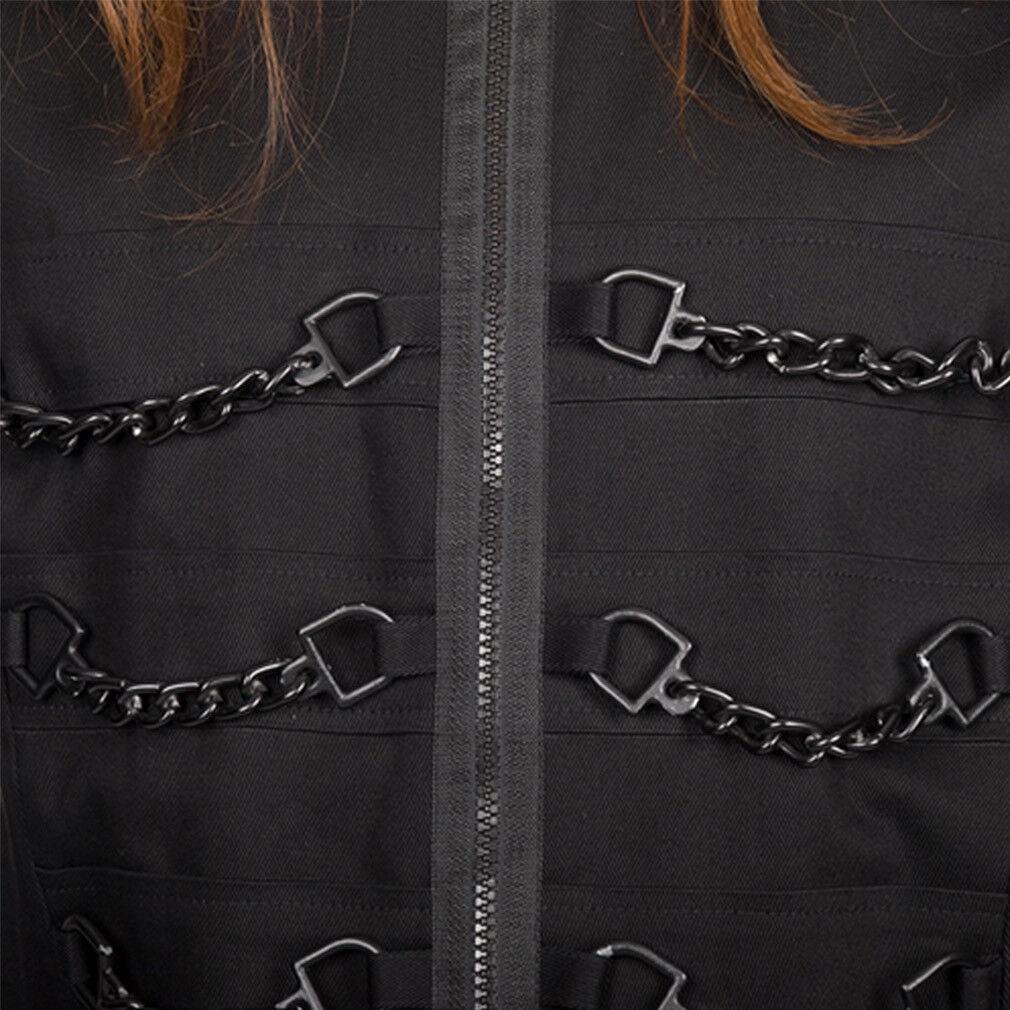 nero Pistol Gothic Steampunk Punk Industrial Camicia-Chain SHIRT SHIRT SHIRT DENIM a84970