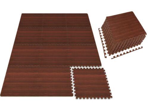 6-Pieces 2'x2' Cherry Wood Effect EVA Foam Interlocking Mat Tiles W/ Edge Stripe