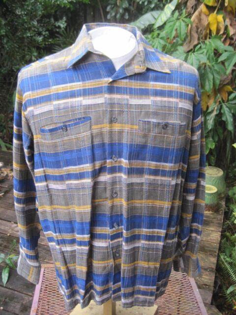 Mens PLAID long sleeve shirt M pit to pit 24 FERNANDO PENA linen cotton  blend 12c75465b46