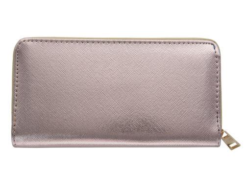Porte-monnaie Metallic Look Portefeuille avec Fermeture Éclair Uni Couleurs Pour Femmes