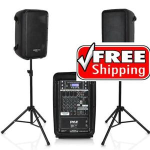 PYLE PPHP28AMX Speaker and Mixer Bundle Kit with Stands and Microphone Canada Preview