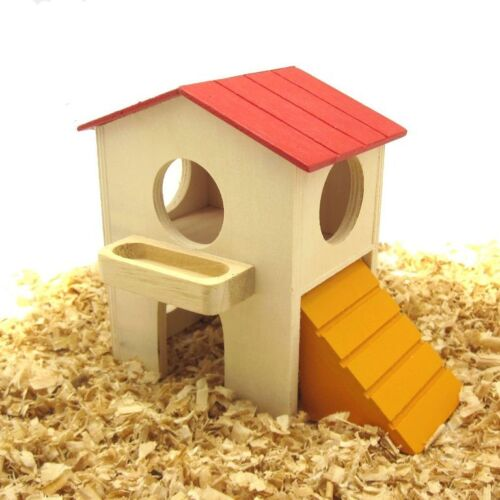 Wood Hut Toys Dwarf Hamster Mouse Hideout Pets Exercise Home Playing Cage Decor