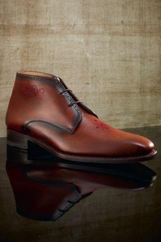 botas para hombre Hecho a Mano Simple Chukka Marrón Cuero Zapatos Casuales De Vestir Ropa Formal