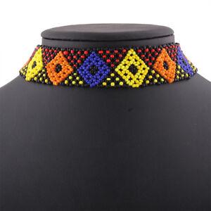 Multicolour Beaded African Choker necklace bright colours handmade Chocker DRvKB6biS