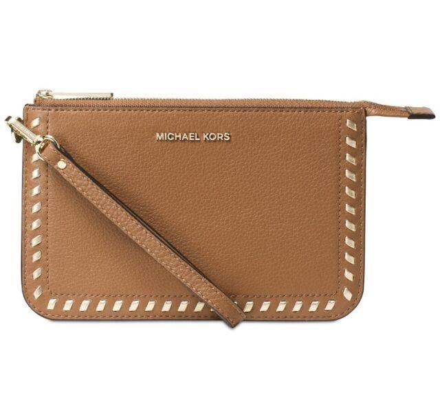 3cb2b22369e983 NWT Michael Kors Lauryn Medium Wristlet Leather ACORN whipstitching~MSRP$118