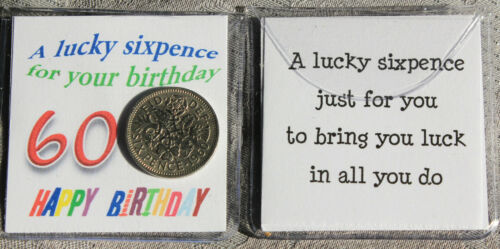 60TH LUCKY SIXPENCE COIN 60TH BIRTHDAY OTHER AGES AVAILABLE