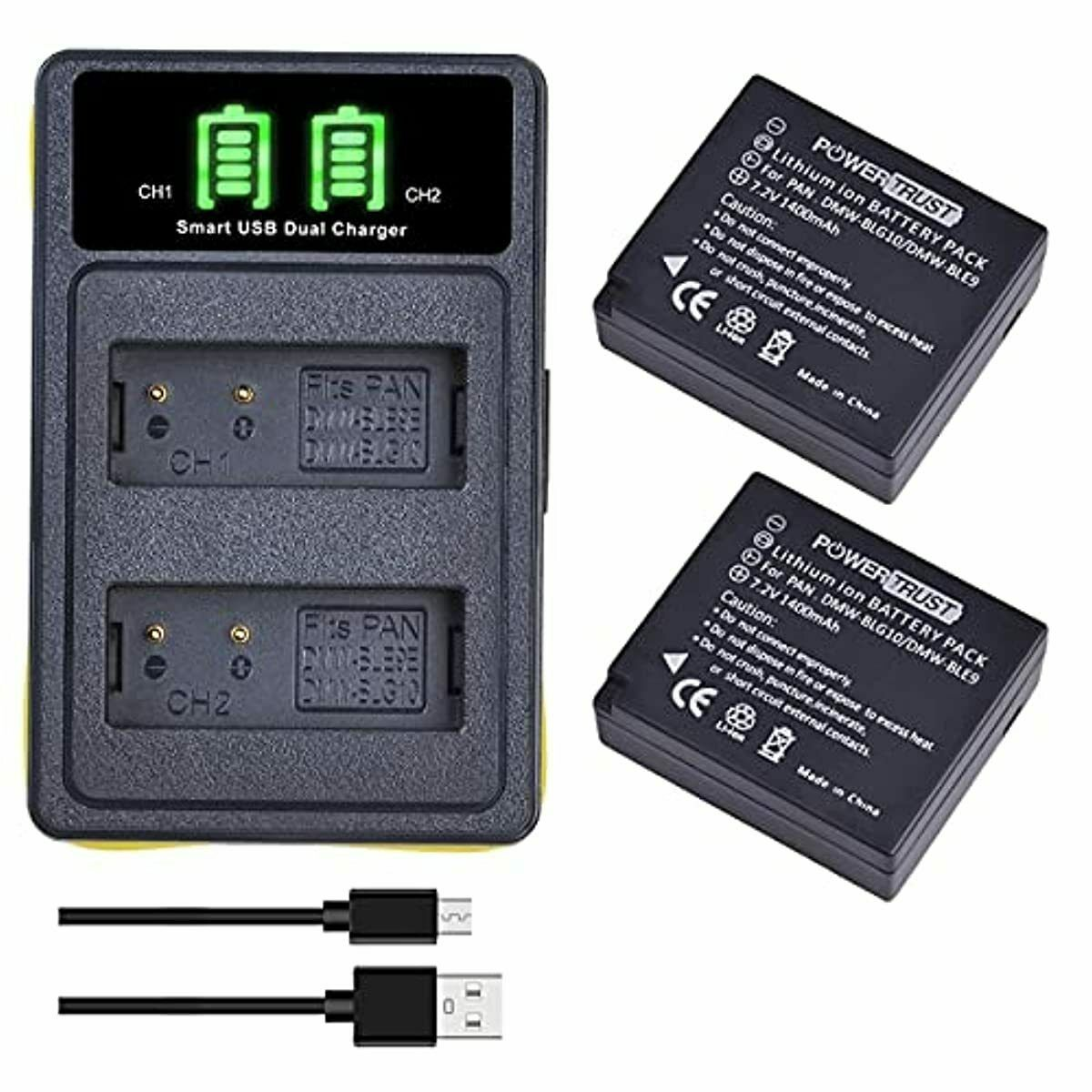 PowerTrust 2Pcs DMW-BLG10 DMW-BLG10E Battery and Dual USB Charger for Panasonic