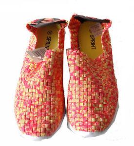 f1a93622824d63 Das Bild wird geladen Damen-Ballerinas-geflochten-Slipper-flach-Sneaker- elastisch-geflochten-
