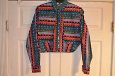Vintage Western Womens Shirt-Small -Aztec Pattern-Cropped-Rodeo Western Wear- 13