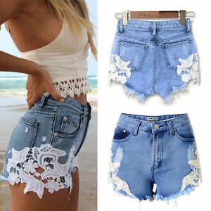 damen high waist loch shorts jeans hotpants spitze denim. Black Bedroom Furniture Sets. Home Design Ideas