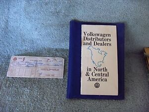 Details about 1969 Volkswagen USA Canada Mexico Distributor Dealer List -  Bill of Sale Booklet