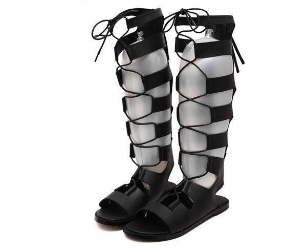 Elegant Sandalen schwarz Stil Gladiator Gladiator Gladiator mit Schnürung flachem Absatz CW785 eca293
