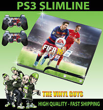 PLAYSTATION PS3 SLIM FIFA 16 FOOTBALL STICKER SKIN & 2 CONTROLLER PAD SKINS