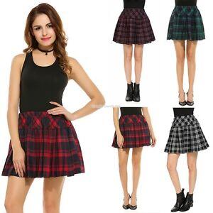 Women-High-Waisted-Plaid-Pleated-Mini-Skater-Uniform-School-Skirt-EN24H