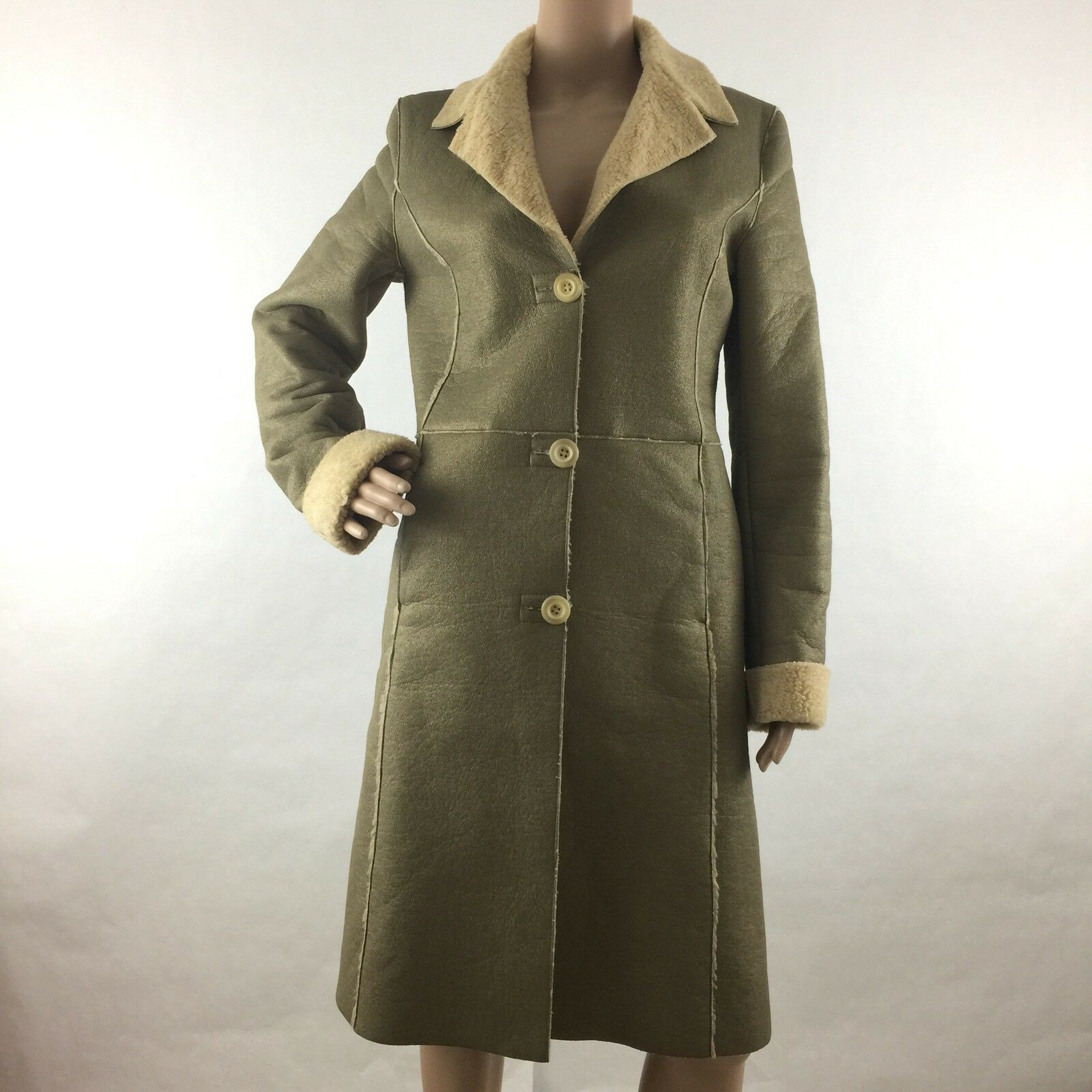 Expensive e xpensive Size 42  8 US Trench Coat Winter Trim Cotton Faux gold