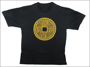 HAND-PAINTED-amp-BEADED-CHINESE-COIN-T-SHIRT-Black-XL-Ind6