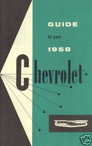1958 CHEVROLET OWNERS MANUAL-FULL SIZE