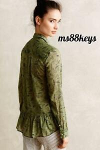 NWT-Anthropologie-ARABEL-BUTTONDOWN-Shirt-Top-Ruffled-Tunic-Holding-Horses-SZ-10