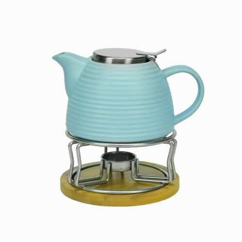 Teekanne Kaffekanne mit Stövchen 700ml Porzellan 2 tlg.Blau Stovchen 0,7L
