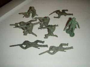 Vintage-2-3-inch-Plastic-Soldiers-lot-of-9-some-rare-poses
