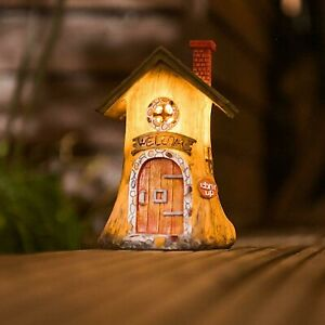 Fairy-Log-House-Solar-Powered-Garden-Ornament-Outdoor-Welcome-Patio-LED-Light