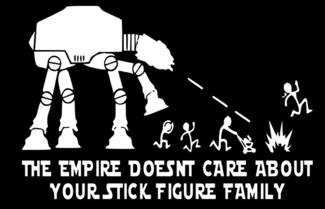 Star Wars AT-AT Nobody Cares About Your Stick Figure Family Vinyl Window  Decal