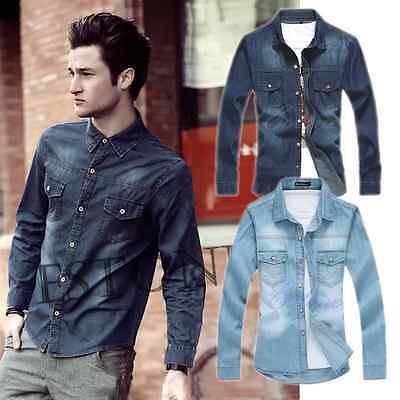 Vintage Men's Casual Top Denim Shirt Luxury Stylish Wash Slim Fit Shirts Fashion