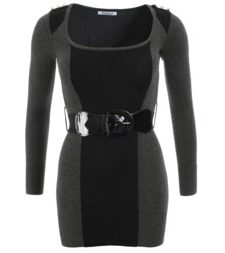 Nuovo maglione nero e rimovibile girocollo grigio cintura rUxdFqrpw