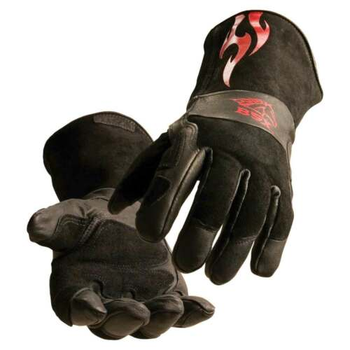 Black Stallion BS50 BSX Advanced Fit Stick Glove Black with Red Flames Large