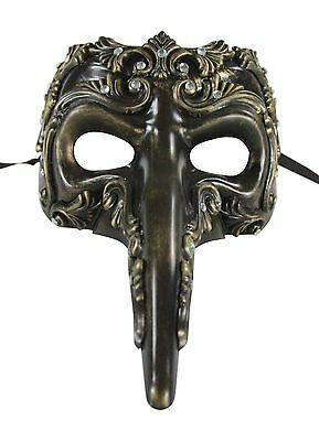 Bronze Long Nose Renaissance Venetian Masquerade Mask with Clear Rhinestones