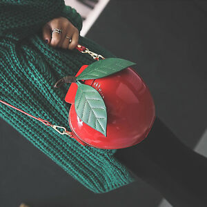 Women-039-s-Apple-Shape-Single-Shoulder-Bag-Cute-Coin-Purse-Girls-Crossbody-2-Color