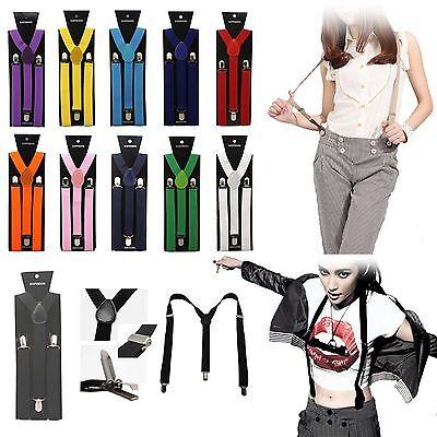 Womens Girl Mens Unisex Clip-on Adjustable Braces Elastic Y-back Suspenders Lot