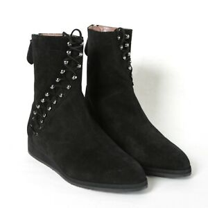 0cb875aec52 Details about ALAIA black suede spiral lace up pointed toe Azzedine Alaïa  biker boots 37.5 NEW