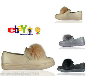 Womens Pom Pom Suede Style Loafers Brogue Flat Trainers Pumps Quality Shoes Size