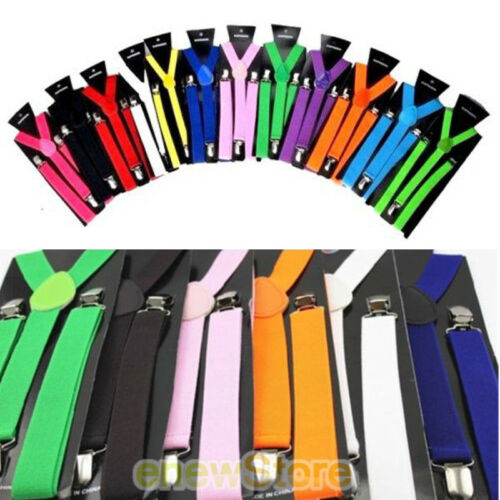 New Elastic Y-Shape Braces Men/'s Adjustable Clip-on Suspenders Reg /& Tall US