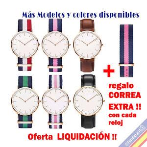 Reloj de Pulsera Mujer Hombre con Logo Marca Lujo Correa Nylon Rayas ... 3479cffdcb02