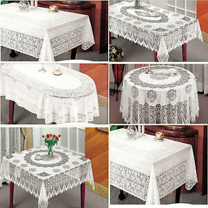Vinyl White Oval Rectangle Square Round Embossed Lace