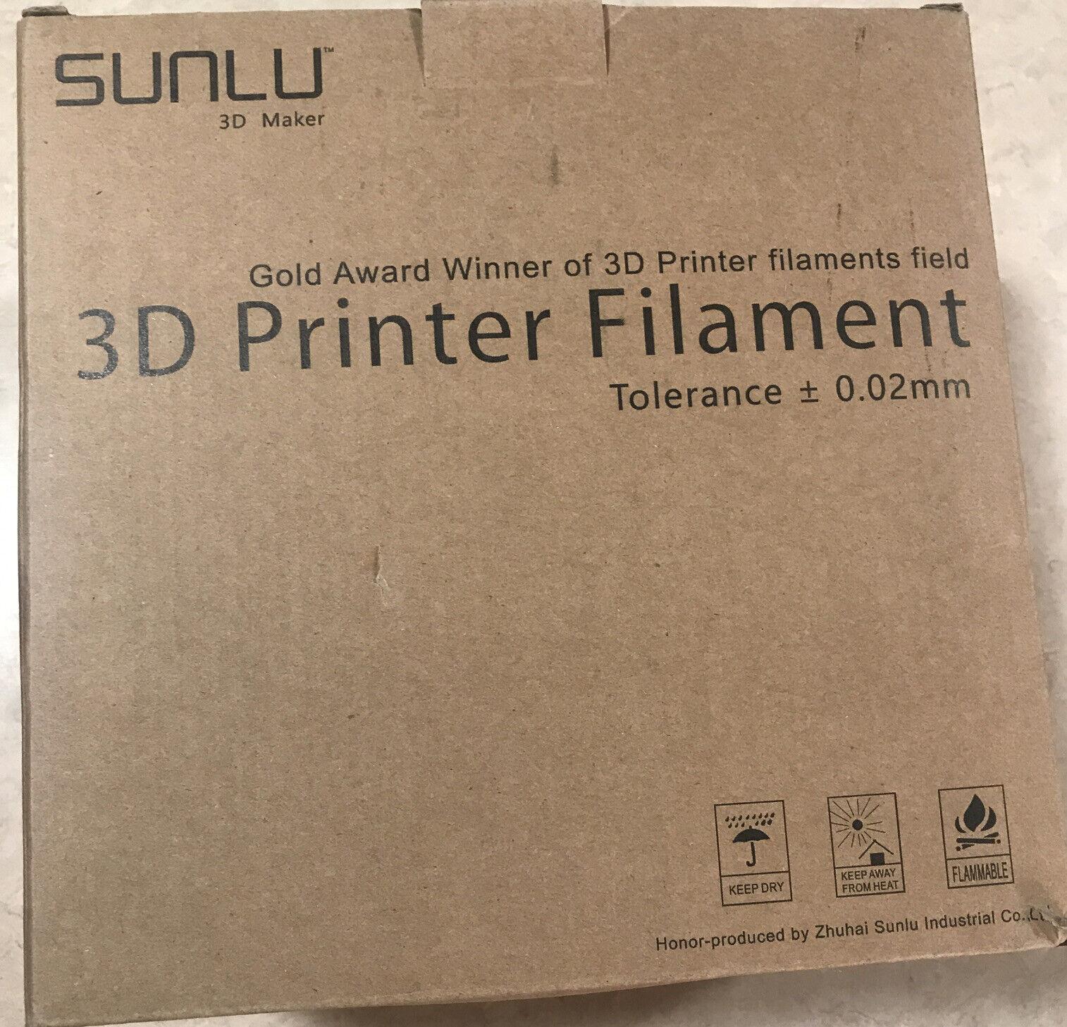 Sunlu 3D Maker 3D Printer Filament 1.75 MM 2 Pack Tolerance 0.02 MM New! V