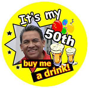 50th BIRTHDAY BADGE MALE BUY ME A DRINK