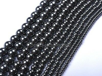 4/6/8/10/12mm Ball Black Magnetic Hematite Spacer Charms Beads Findings