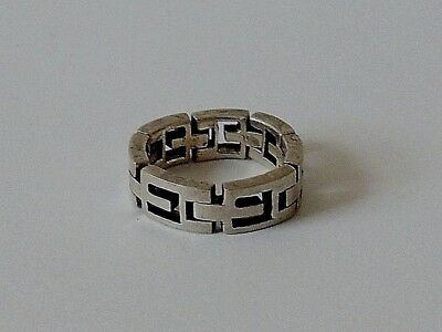 925 Sterling Silver Greek Style Chain Band Ring Size M1/2-