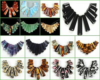 Gemstone flatback 11pcs sticks graduated pendant loose beads set Wholesale