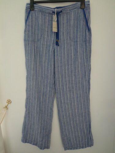 BNWT Donna M/&S Donna gamma in puro lino bright indigo Mix Pantaloni Taglia 14 Media